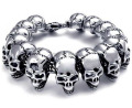 Free shipping 316L Stainless Steel 24mm Huge Heavy Solid Silver Men's Skeleton Skull bracelet Ghost bangle Biker  Punk Jewerly