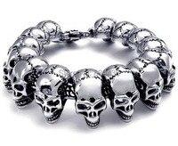 Free Shipping 316L 24mm Huge Heavy Solid Silver Men S Skeleton Skull Bracelet Chain Ghost Bangle