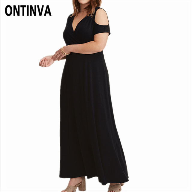 Black Long Robe Cold Shoulder Women Plus Size Maxi Dress Sexy Deep V