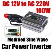Оптовая DC 12 В в ПЕРЕМЕННОЕ 220 В 100 Вт Модифицированная Синусоида USB зарядное устройство Автомобиля Инвертор преобразователь напряжения трансформатор