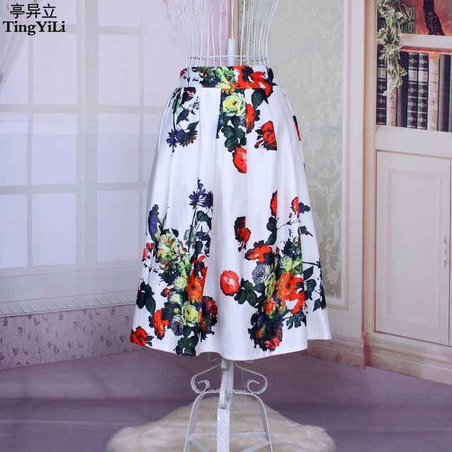 720e290d9fd5c TingYiLi 2015 New Ladies Summer Elegant Midi Skirt Satin Floral Print  Pleated Skirt 50s Retro Swing Skirt