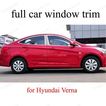 Stainless Steel full Car Window Trim Decoration Strips For H-yundai Verna with center pillar