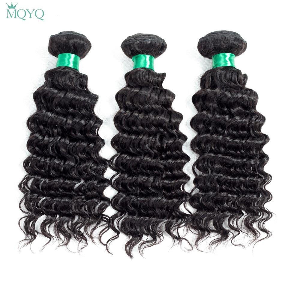 MQYQ Cheap Brazilian Hair Deep Wave 3 Bundles Deals Non Remy Human Hair Extensions Weaves Deep Curly Hair