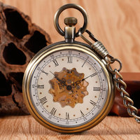 Elegant Retro Fob Chain Pendant Copper Roman Numbers Skeleton Hand Winding Mechanical Pocket Watch Flower Dial