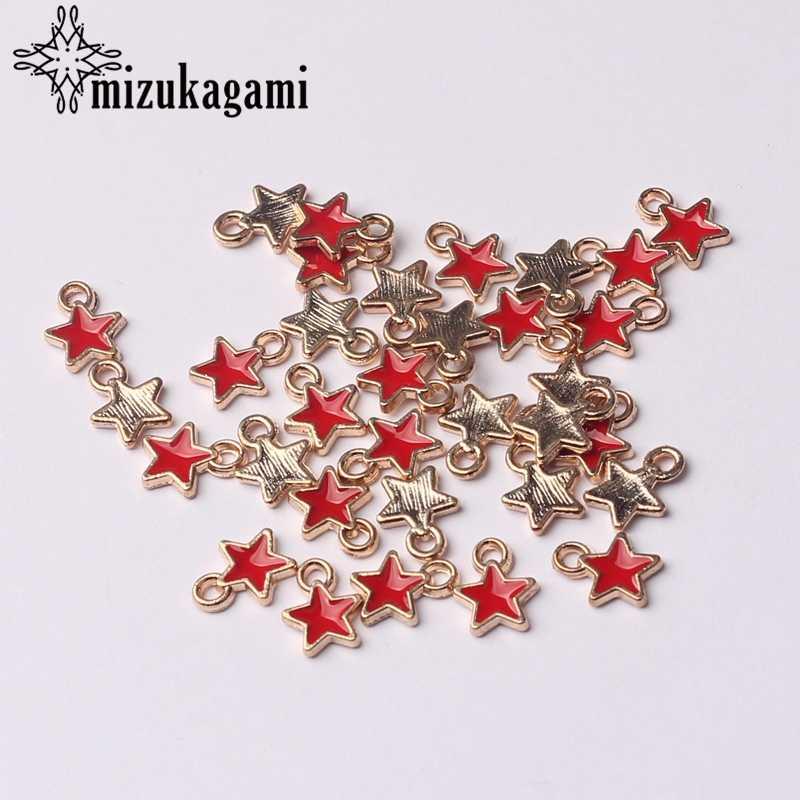 Zinklegering Zwart Wit Emaille Bedels Mini Stars Charms 6 Mm 50 Stks/partij Voor Diy Sieraden Maken Vinden Accessoires