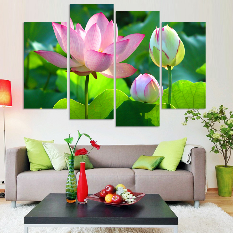 Wall Art Canvas Painting Calligraphy Wealth Luxury Golden Flowers 4p
