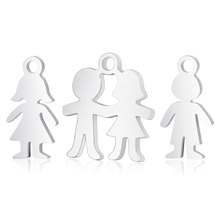 10pcs Polished Real Stainless Steel Boy Girls Small Charm Pendant Charms For DIY Jewelry Bracelet Necklace Making Accessories
