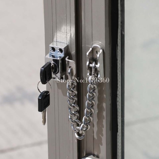Stainless Steel Casement Window Guard Window Door Restrictor Child Safety Security Chain Lock With Keys Free Shipping CP181