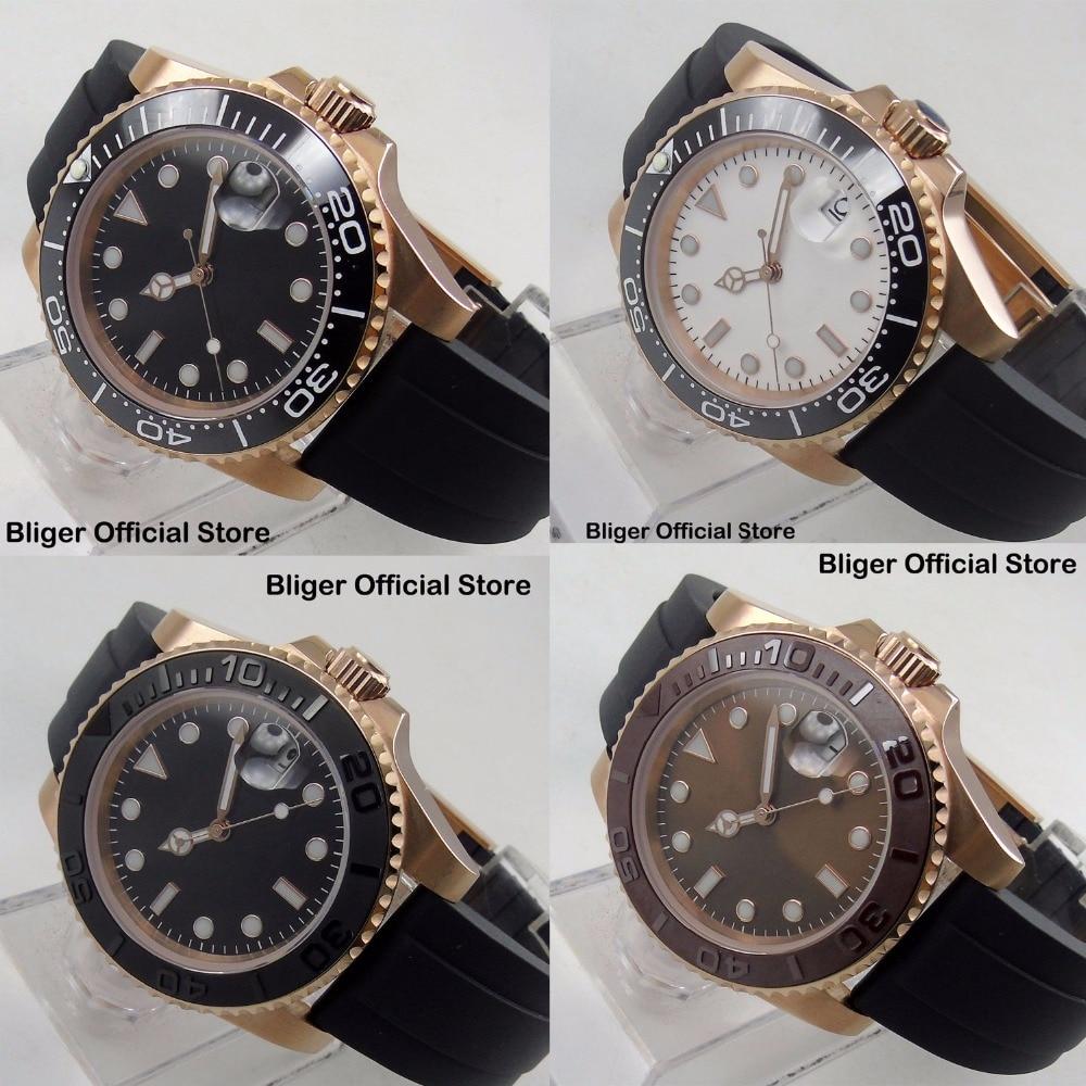 4 Models Nologo Automatic Men's Watch Movement Ceremic Bezel 40mm Wristwatch Time Watch Gold Case|Mechanical Watches| |  - title=