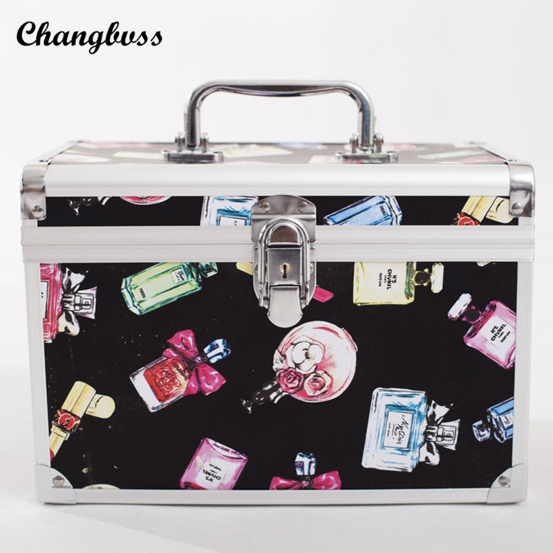Desktop or Travel Cosmetic Organizer Portable Women Makeup Bag Toiletry Pouch Case Perfume Pattern Ladies Cosmetics Bags neceser