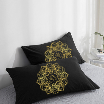 Custom Pillow Case Pillowcase 50x70 50x75 50x80 70x70 Decorative Pillow Cover OM Round golden on Black Bedding Drop Shipping image