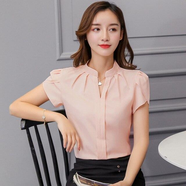Korean Fashion Womens Tops and Blouses Chiffon Women Blouses Short Sleeve White Shirts Plus Size XXL Ladies Tops