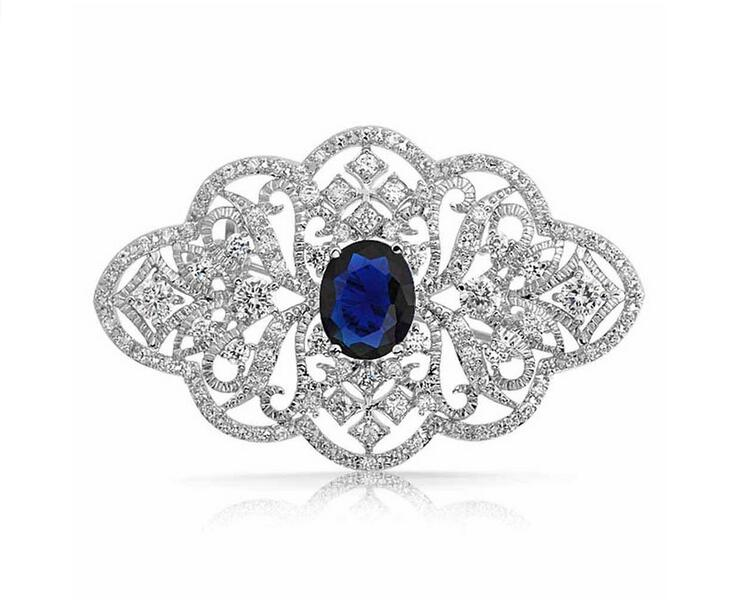 2.2 Inch Vintage Look Clear Rhinestone Crystal Diamante Wedding Jewelry Brooch With Dark Blue Stone