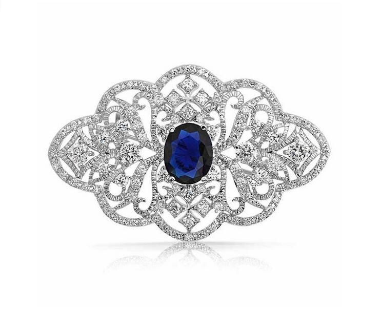מראה וינטג '2.2 אינץ' נקה ריינסטון קריסטל Diamante סיכת תכשיטים עם אבן כחולה כהה