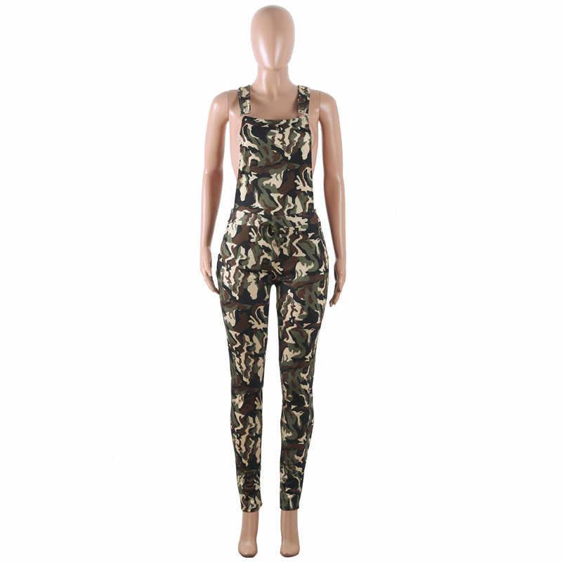 Otoño verano militar Camo largo mamelucos mujer mono pantalones camuflaje sin mangas Correa espalda descubierta ocio mono
