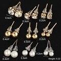 17 KM 9 New Pair / lot Crystal Screw Pearl Earrings Prisoner Piercing Gold Color 2016 Fashion Earrings For Women Bijoux Jewelry