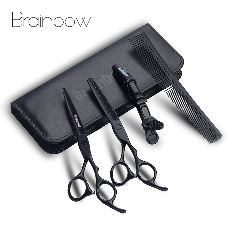 Brainbow 6.0 'Japan Barber Scissors Professional Hair Cutting Thinning Barber Shears Hairdressing Scissors Set Hair Styling Tool