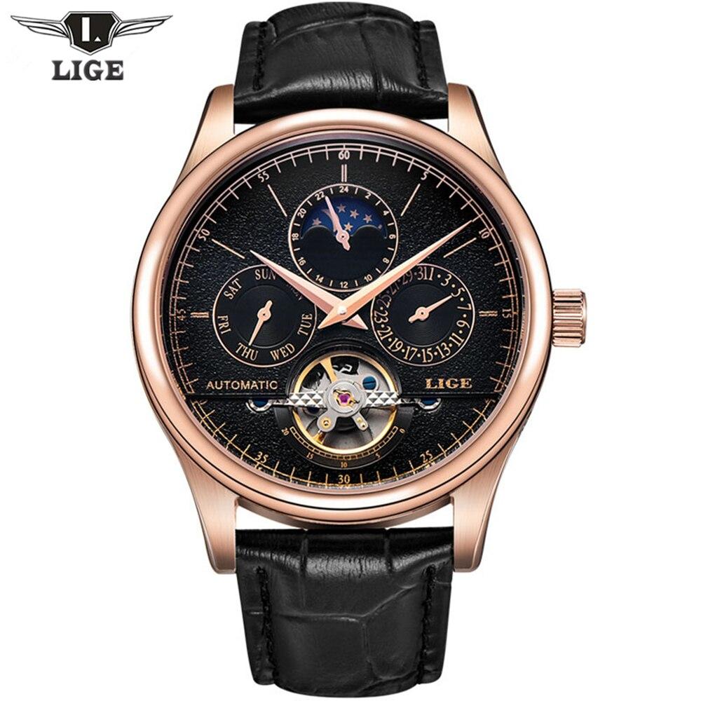 2017 Casual Hommes Montres De Luxe Top Marque LIGE Sport Montre En Cuir Or Horloge Hommes Tourbillon Automatique Montre-Bracelet Avec Phase de Lune
