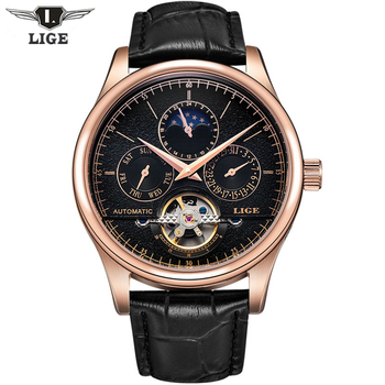 2017 Casual Men Watches Luxury Top Brand LIGE Sport Watch Leather Gold Clock Men Tourbillon Automatic Wristwatch With Moon Phase lige horloge 2017