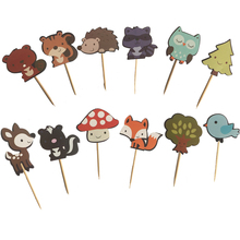 24pcs Woodland Animal Friends Cake Toppers Cupcake Picks for Birthday Wedding Party Food Dessert Decoration