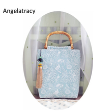 Angelatracy Handmade Big Bags for Women 2018 Blue Beach Bag White Lace Floral Handbag Cotton Organza Flowers Casual Tote Bamboo цены
