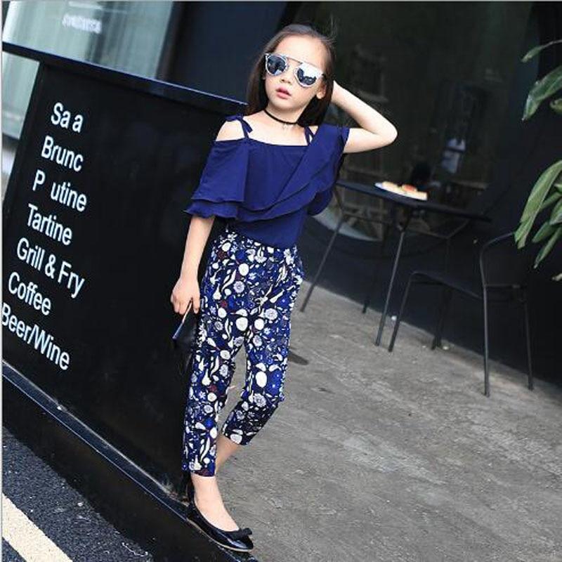 Dječja odjeća djevojke setovi ljeto Sling košulja + gležanj - - Dječja odjeća - Foto 4