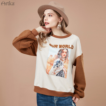ARTKA 2019 Autumn New Women Sweatshirt O-Neck Pullover Casual  Sweatshirts Fashion Print Fleece Sleeve Women Sweatshirt VA10986Q artka 2019 autumn new women sweatshirt 100% cotton fashion print hoodie sweatshirt o neck pullover casual hoodies women va10399q