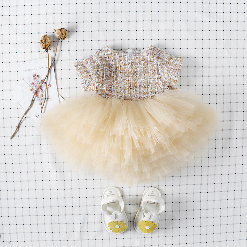 Ins Sweet Toddler Baby Girls Crochet Tulle Party Dress Vintage Beige Color New Born Toddler Baby Birthday DressIns Sweet Toddler Baby Girls Crochet Tulle Party Dress Vintage Beige Color New Born Toddler Baby Birthday Dress