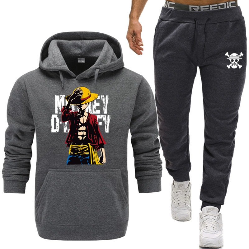 2019 New Tracksuit  One Piece Hoodie Men Japanese Anime Hoodies Mens The Pirate King Luffy Sport Suit Sweatshirts+Sweatpants