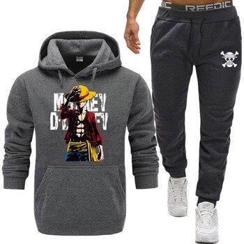 2019 New Tracksuit  One Piece Hoodie Men Japanese Anime Hoodies Mens The Pirate King Luffy Sport Suit Sweatshirts+Sweatpants