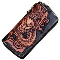 Ręcznie robiony skórzany portfel męski długi duży pojemność torba na zamek błyskawiczny skóra rzeźba wielu portfel na karty pieniądze płócienna torba kopertówka w Portfele od Bagaże i torby na