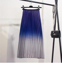 Summer Skirt spring 2019 womens new style  Long, shiny, organ-pleated satin gradient pleated skirt