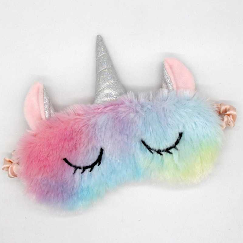 Cute Plush Rainbow Color Long Eyelashes Unicorn Plush Goggles Girl Gift Travel Eyewear Party Favors