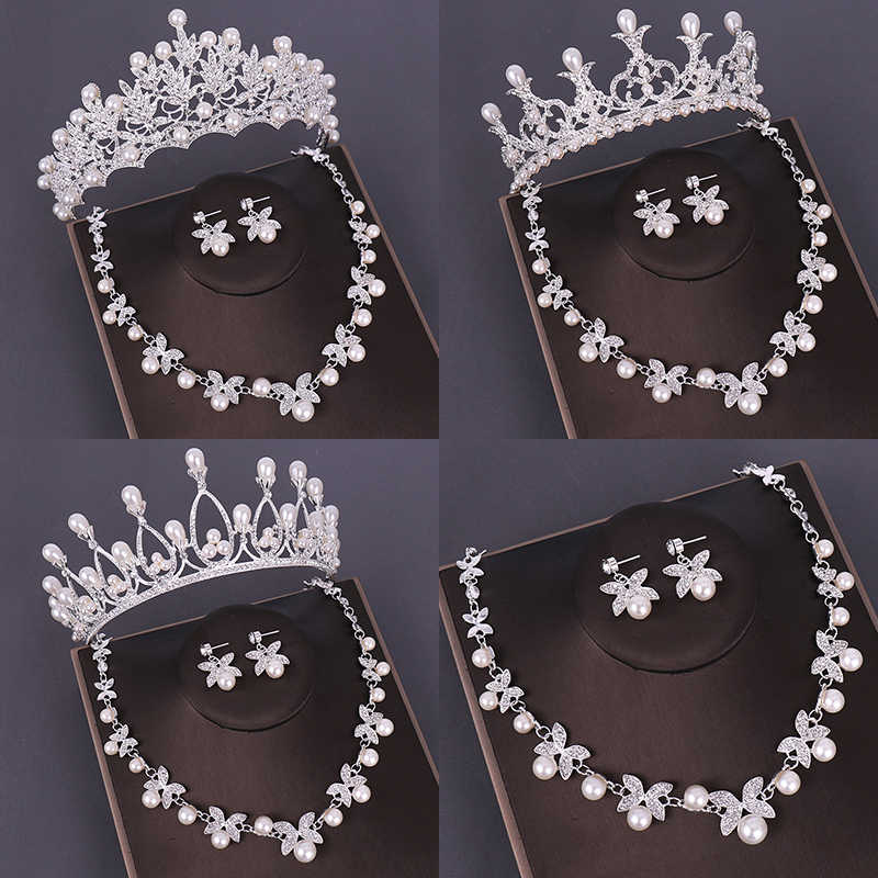 Fashion Bridal Jewelry Sets Wedding Crown Necklace With Earrings Pearl Crystal Tiara And Crowns Hair Ornaments Women Accessories