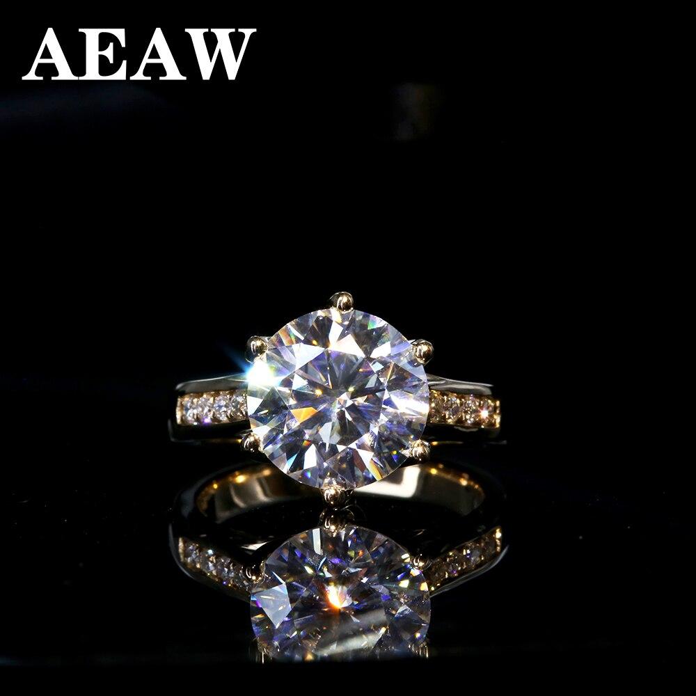 5 carats élégant DEF couleur ronde Halo fiançailles mariage Moissanite bague en diamant pour les femmes en or 14k