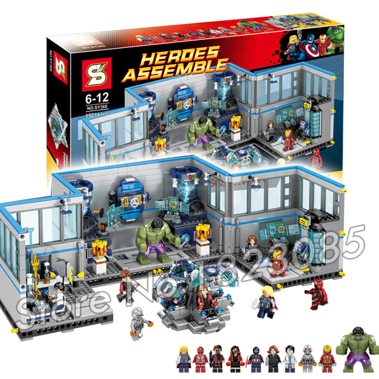 1521Pcs 2016 Super Hero Avengers superheros Headquarters Model Building Kits Minifigures Bricks Toys Compatible with lego