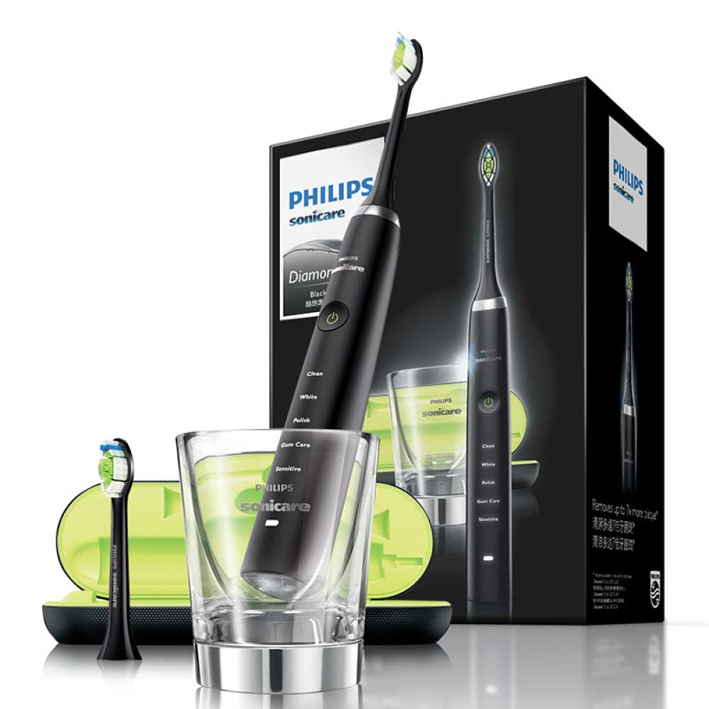 PHILIPS Sonic Electric Toothbrush for Adult Vibration Diamond Series with Charging Travel Black HX9352/04 image