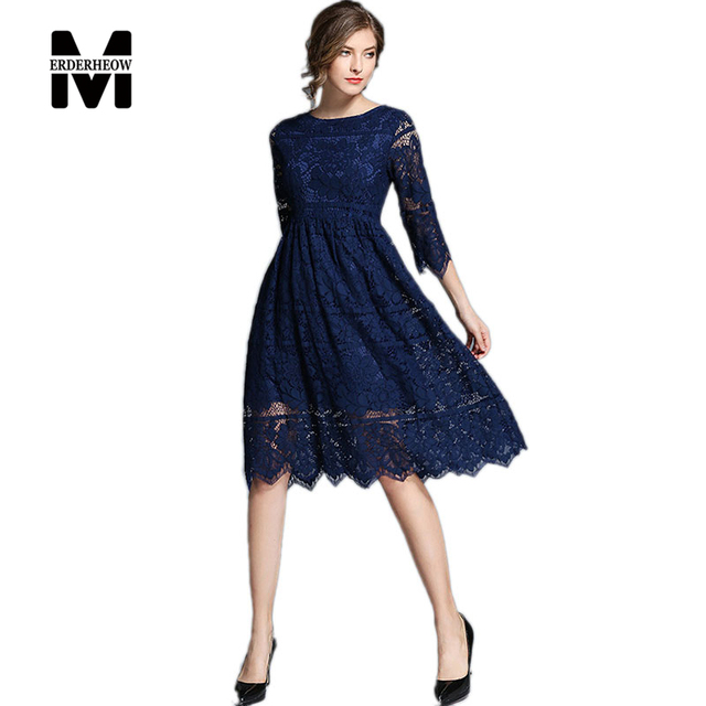 Merderheow New 2017 Autumn Women's Lace Hollow Out Long Dress Femme Casual Clothing Fashion Women Sexy Slim Dresses Vestido L964