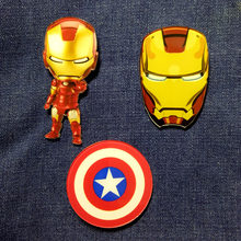 Acrilico Spilla Marvel iron Man/Batman/Superman/Captain America Vestiti Distintivo Icone Sullo Zaino Spille Spilli distintivi e Simboli(China)