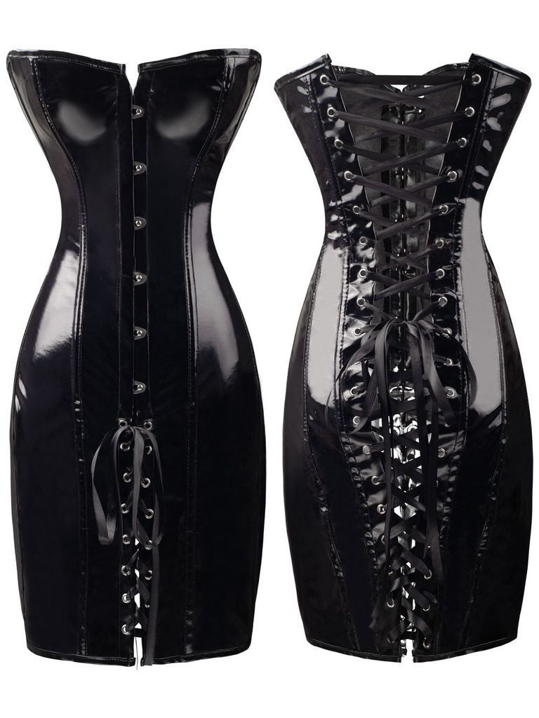 Sexy Womens Black PVC Corset Fetish Dress Ladies Dominatrix Nightclubs corset S-XXL image
