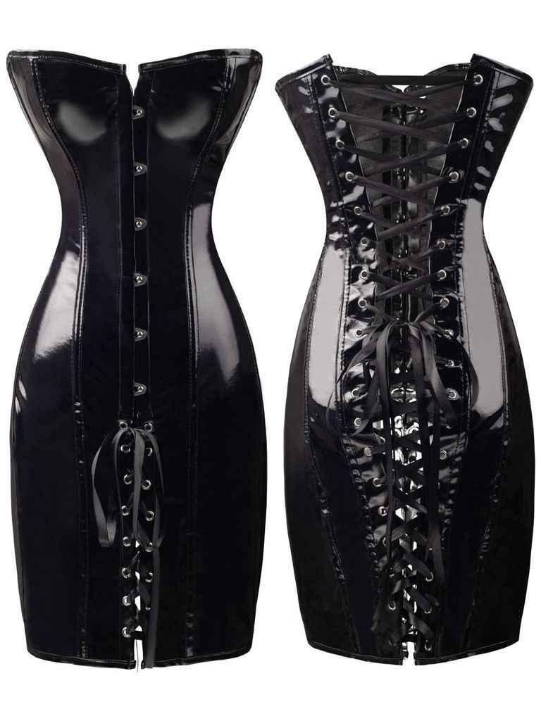 Сексуальные женские черные ПВХ корсет фетиш-платье дамы Dominatrix ночные клубы корсет S-XXL