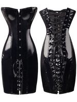 Sexy Womens Black PVC Corset Fetish Dress Ladies Dominatrix Nightclubs corset S XXL