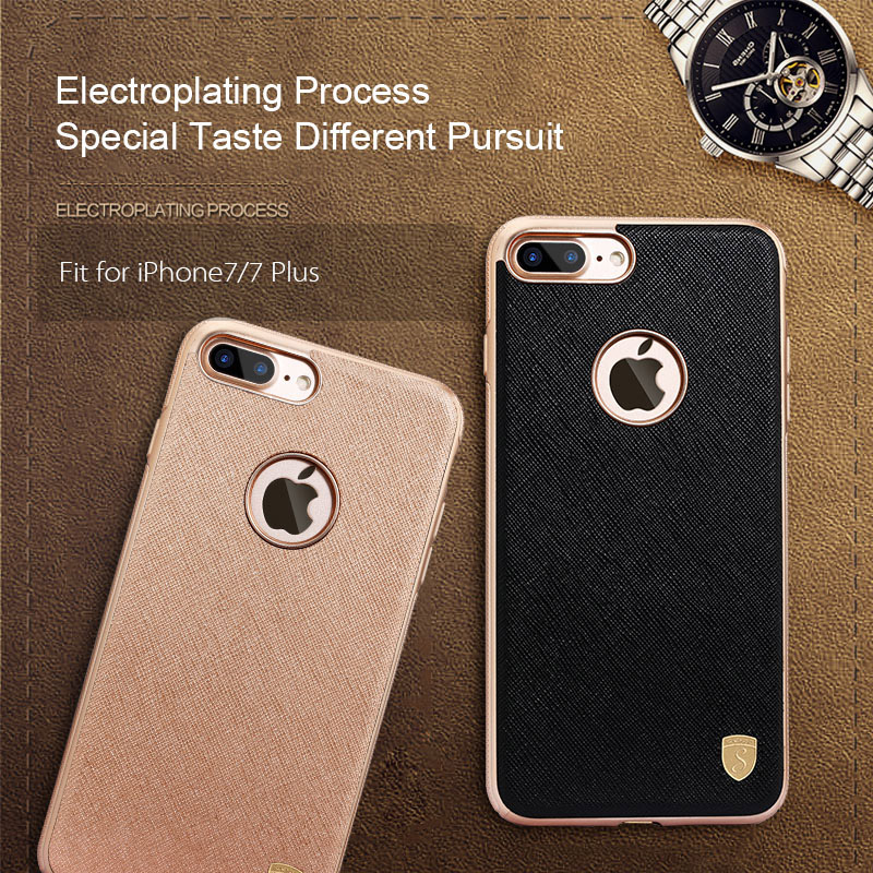 Silicone Case For iPhone 6 6S 7 Plus Hybrid Silicone+PU Leather Anti-skid Coque Back Cover Case For iPhone 7 Plus 6S Plus