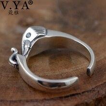 V. Я в винтажном стиле слон кольца для женщин Lady реального Чистая стерлингового серебра 925 CZ Кристалл животных Открытое кольцо ювелирные изделия