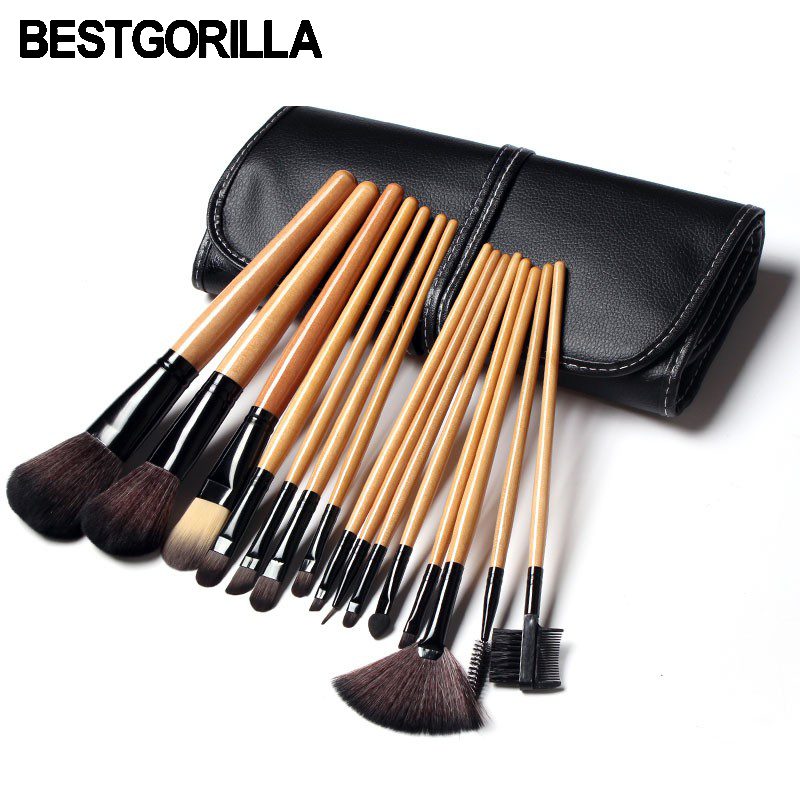 Best Quality For Pro 15pcs Makeup brush Soft Synthetic Hair tools kit Cosmetic Beauty Makeup Brush Black Set with Leather Case soft synthetic makeup brushes set 12 pieces makeup tools kit pink with case