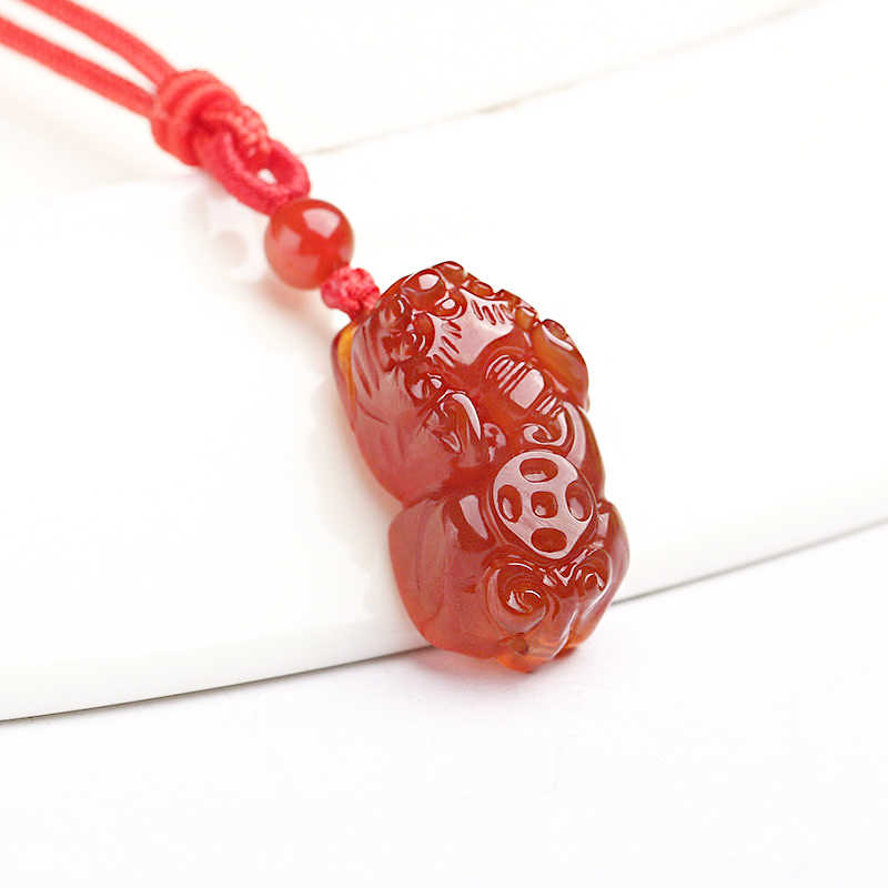 Natural red and red agate pendant