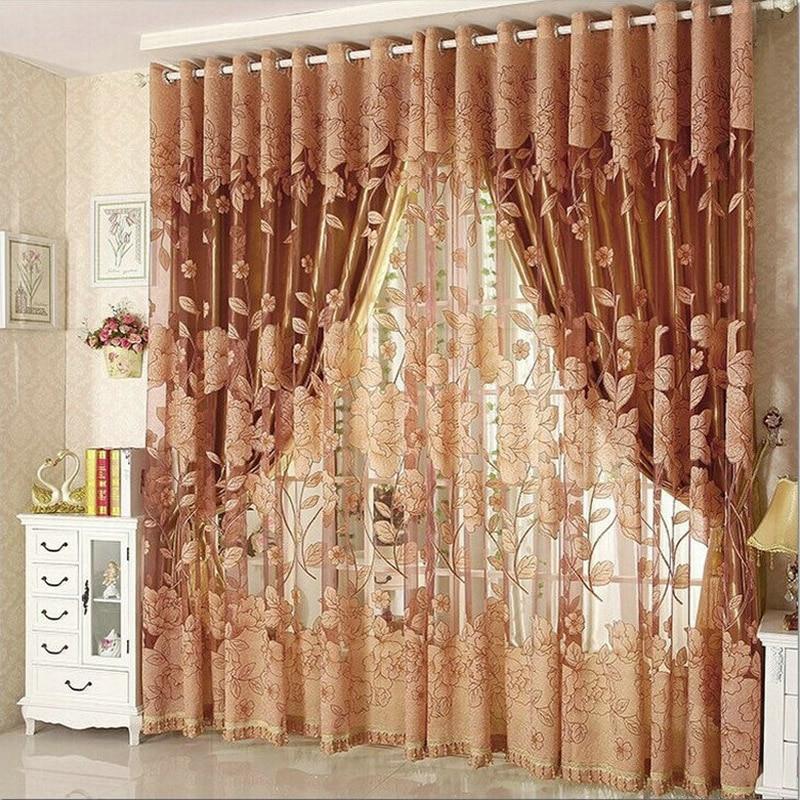 Luxusní okno Záclony pro obývací pokoj Zatemňovací opona + Tyl pro ošetření oken v hotelu Beaded Red / Purple / Brown / Gray