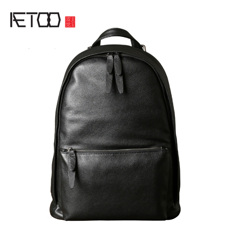 AETOO Leather men's shoulder bag leather backpack casual Korean version of the simple new wave of large-capacity travel bag aetoo first layer of leather shoulder bag female bag korean version of the school wind simple wild casual elephant pattern durab