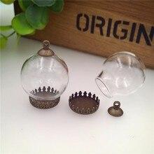 NEW 20sets/lot 25x15mm glass globe base 8mm cap finding set vial pendant bottle