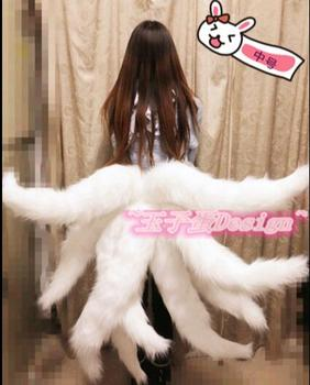 Lol Ahri Cosplay Tail Anime The Nine Tailed Fox Ahri Sexy Women Cosplay Costume hot game lol character kda k da ahri wig cosplay costume golden long synthetic hair perucas cosplay fox anime wigs with eear